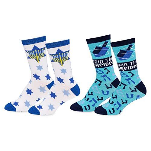 Mens & Womens Fun Novelty Holiday Christmas Hanukkah Socks- One Size Fits Most-Menora With Stars/Spin The Dreidel