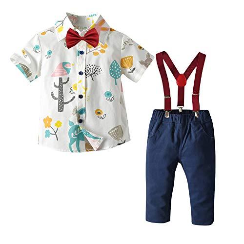 IBAKOM Baby Kinder Jungen Gentleman Smoking Anzug Blumendruck Kurzarm Hemd + Lange Hosen + Hosenträger + Fliege 4tlg Formelle Geburtstag Hochzeit Sommer Kleidung Blumen 6 1-2 Jahre