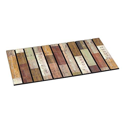 Vopi, s.r.o. 44 Extérieur Tapis de Sol Rustic Wood Slats, Caoutchouc, Multicolore, 46 x 76 cm