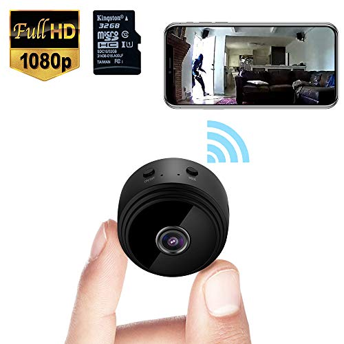 Mini Spy Camera WiFi Wireless Hidden Video Camera 1080P HD Small Home Security Surveillance Cameras with 32G SD Card, Portable Tiny Nanny Cam with Night Vision Motion Detection for Car Indoor Outdoor