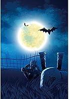 HD 7x10ft写真の背景ハロウィンRIP墓石フルバットフェンス芝生墓地満月星空の夜写真の背景背景写真写真撮影パーティーポートレートスタジオ小道具