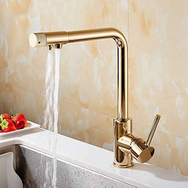 FZHLR Messing Hot Cold Water Schwarz Gold Chrom-Küche-Hahn Reines Wasser-Hahn Trinkwasser Mischer-Hahn-Doppelwasseranschluss Wasserhahn, Gold