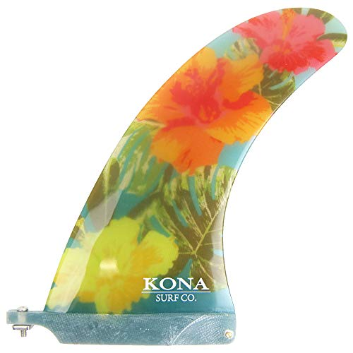 KONA SURF CO. Classic Single Center Fin for Longboard, Surfboard and Paddleboard in Trans Blue/Floral sz:9in