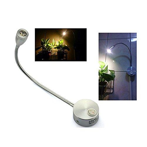 UEETEK CA 85-265V 3W 360 Grados Brazo Flexible luz LED Lectura luz cabecera lámpara de Pared LED con Interruptor (Blanca cálida)