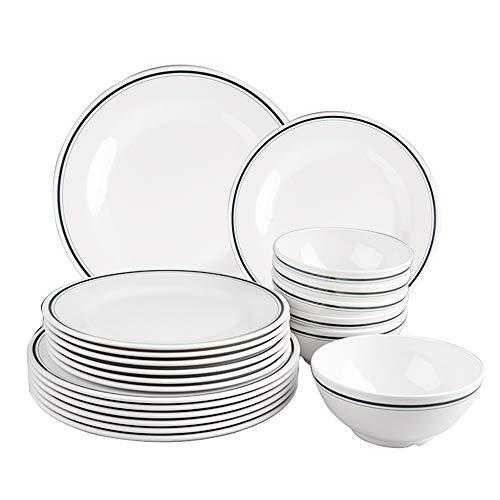 T-mark Melamin-Geschirr-Set – 18-teilig, für den Außenbereich, Melamin-Speiseteller und Schüssel-Set, Service für 6 Personen, leicht, unzerbrechlich