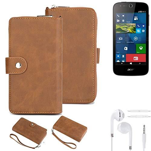 K-S-Trade® Handy-Schutz-Hülle Für -ACER Liquid M330- + Kopfhörer Portemonnee Tasche Wallet-Case Bookstyle-Etui Braun (1x)