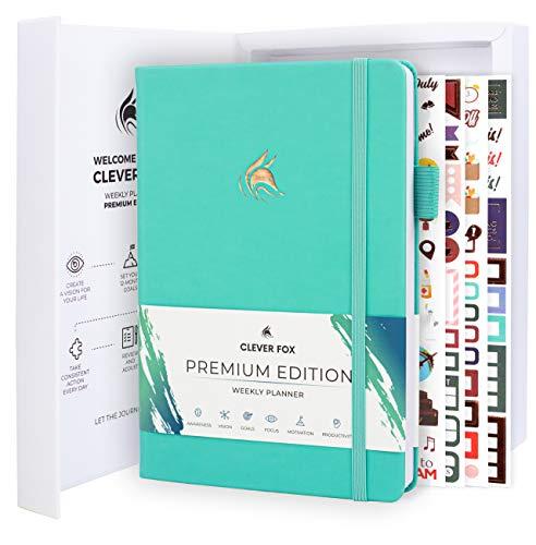 Clever Fox Planer Premium Edition - Luxuriöser Wochen- & Monatsplaner zur Produktivitätssteigerung und zum Erreichen Ihrer Ziele - Organizer - Undatiert, Start jederzeit möglich, A5 - Helles Türkis
