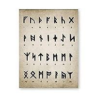 LMHの走行アルファベットのプリントアートの職人の魔法のバイキングの古いノルセの言語ビンテージポスターキャンバス絵画壁の装飾 (Color : D, サイズ : 21cm x 30m framed)