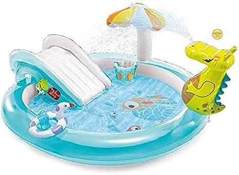 XBSXP Piscina Inflable para niños con toboganes de Agua, 20 Pulgadas x 68 Pulgadas x 35 Pulgadas, área de Juegos de Dinosaurios, Juguetes al Aire Libre para Piscina Infantil con protecto