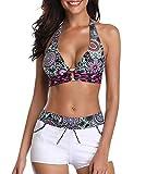 Zando Women Athletic Halter Bikini Swimming Suit Push Up Sporty Beach Bathing Suit Two Piece Boyshort Swimwear for Teen Floral White Small (fits Like US 6-8)