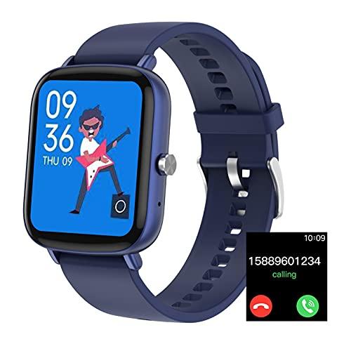 HQPCAHL Smartwatch Relojes Inteligentes Hombre Reloj Inteligente con Pulsómetro Cronómetros, Calorías, Monitor De Sueño, Impermeable IP68 Reloj Deportivo para Android iOS,Azul
