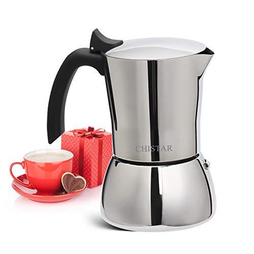 CHISTAR Espressokocher Mokkakanne Edelstahl Espresso Maker 6 Tassen(300ml), Induktion