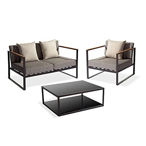 Muebletmoi - Salón de jardín con 1 sillón, 1 sofá y 1 mesa baja de aluminio gris antracita y tablero de cristal – Koda