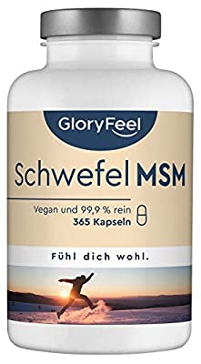 GloryFeel® MSM Capsules - 365 Vegan Capsules (6 Months Supply) - 1600mg MSM (Methylsulfonylmethane) per Daily dose - No additives, Laboratory Tested Production in Germany