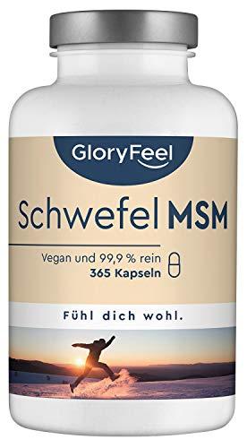 MSM Kapseln - Vergleichssieger 2020* - Laborgeprüft - 365 vegane Kapseln - 1600mg Methylsulfonylmethan (MSM) Pulver pro Tag - Hochdosiert ohne Zusätze hergestellt in Deutschland