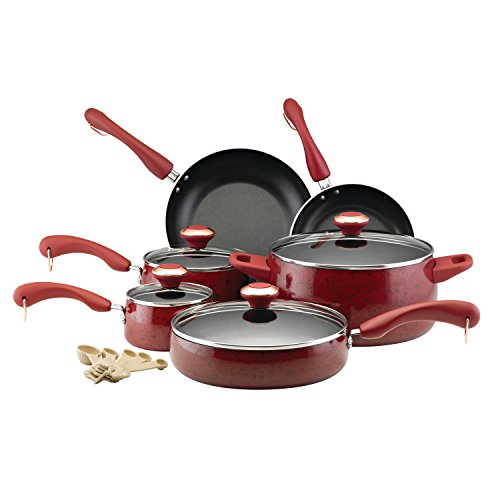Paula Deen 12512 Signature Nonstick Cookware Pots and Pans Set, 15 Piece, Red
