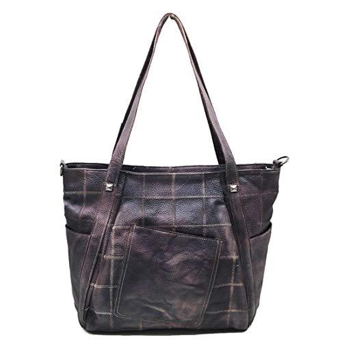 Yhui Geschenktüten Fashion Bag Echtes Leder Diagonale Rückseite Einkaufstasche Schulter Leder Rindsleder Unisex Editor's Bag Business Schulter Große Kapazität Unisex Unisex (Farbe : Kaffee)