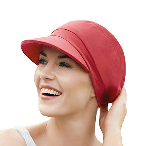 Gorra oncológica drapeada de algodón con visera y protección solar índice 50+ para mujeres en tratamiento con quimioterapia