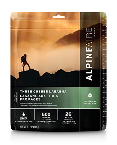 Alpine Three Cheese Lasagna Freeze-Dried/Dehydrated Entrée Meal Pouch, Just-add-Water, 2-Servings per Pouch, 13g of Protein per Serving