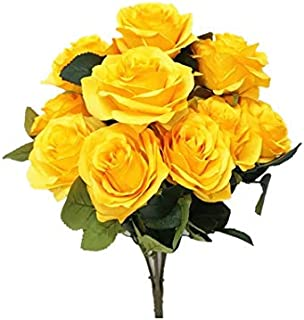 Sweet Home Deco 18'' Princess Diana Rose Silk Artificial Flower Valentine's Day (10 Stems/10 Flower Heads), The Most Beautiful Roses for Wedding/Home Decor (Yellow)