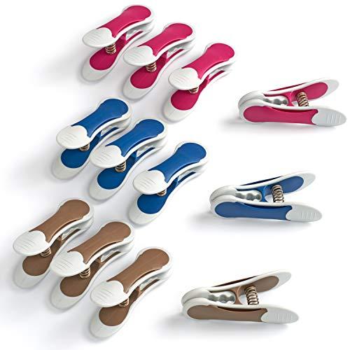 culiclean Maxi Clips (12 Stück, blau-violett-braun) Premium Wäscheklammern für schwere Stücke, starken Wind und vieles mehr