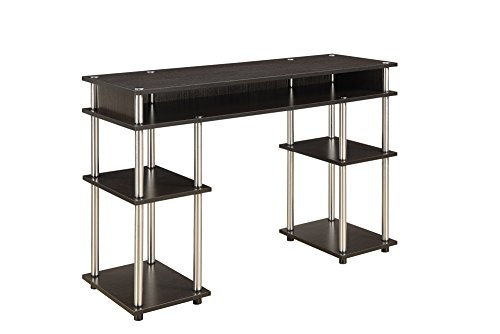 Convenience Concepts Designs2Go No Tools Student Desk with Shelves, Espresso (Kitchen)