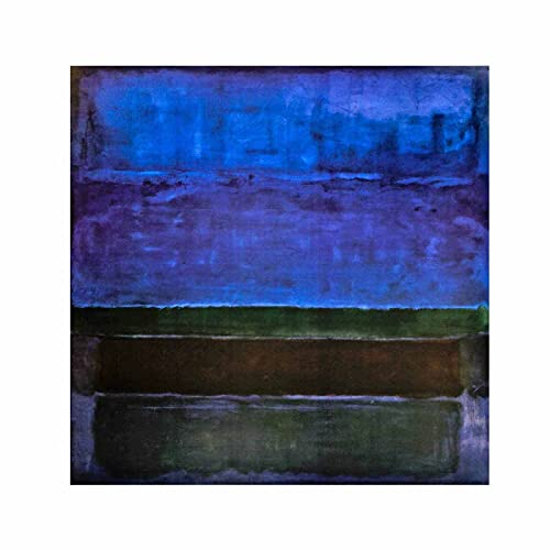 Mark Rothko Azul Verde y Marrón Cuadros Decoracion Foto Canvas Cuadro Lienzos Decorativos Decoración Pared Cuadros de Salón Cada Una Lmpreso (70x70cm (28x28inch), Sin marco)