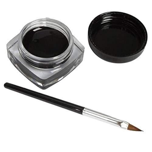 Crème Eyeliner Imperméable Noire Maquillage Beauté Comestics Longue Durée Eye Liner Gel Maquillage Outils Pour Fard à Paupières Avec Brosse - Noir