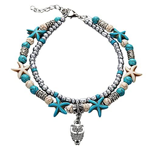 Tobillera de cristal bohemio, para mujer, con brillantes diamantes de imitación y cadena de mano, hecha a mano, bohemia, cadena de tobillo
