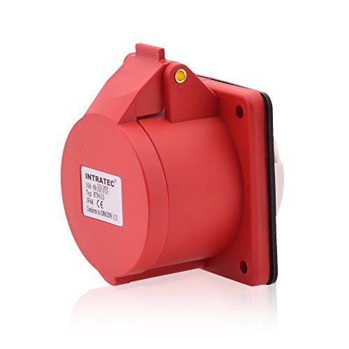 CEE-Kraftstrom-Wandsteckdose COMBO Rundstecker 16A 400V 6h IP44 5-polig (3P+N+E): IEC-60309 Industrie- und Mehrphasenstecker robuste Industriequalität