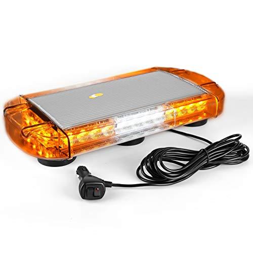 VKGAT 17 Inch 32 LED Roof Top Strobe Lights, Emergency Hazard Warning Safety Flashing Strobe Light Bar for Truck Car Vehicle, With Strong Magnet Base (Amber/White/Amber)