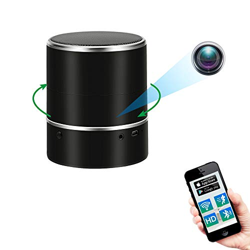 Telecamera Nascosta Spia WiFi, Spy Cam Bluetooth Speaker,UYIKOO 1080P Microspia Videocamera Lente di Rotazione 180° con Rilevazione di Movimento
