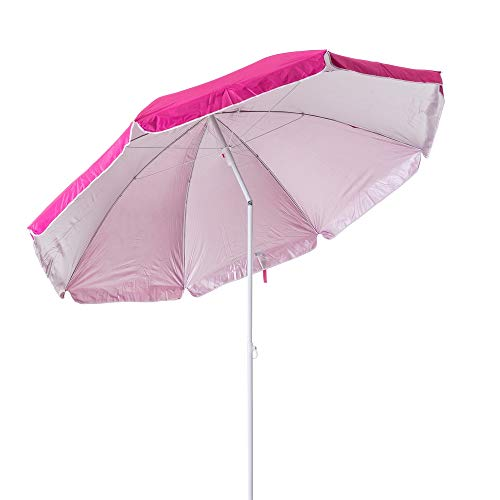 Monty LOLAhome Sombrilla Playa Parasol de Acero Rosa de 200 cm Garden