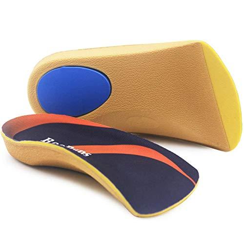 RooRuns Plantillas ortopédicas, soporte de arco alto de 3/4, inserciones de calzado para pies planos, fascitis plantar, arco de pie, fatiga de pies para unisex adultos medio (6-9.5 UK) [azul]
