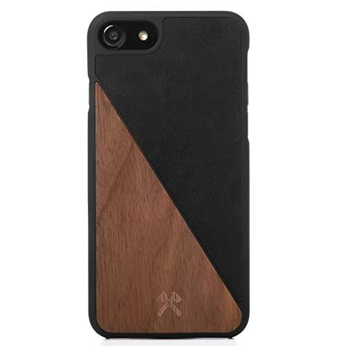 Woodcessories - Hülle kompatibel mit iPhone SE (2020) / 8/7 aus Echtholz - EcoSplit Case (Walnuss/Schwarz)