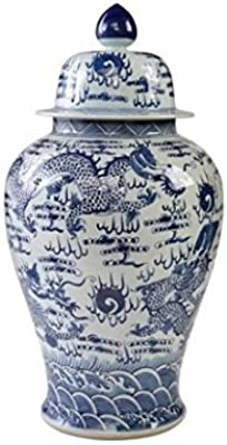 Asian Traditional Chinese Blue & White Temple Jar Sea Dragon Motif