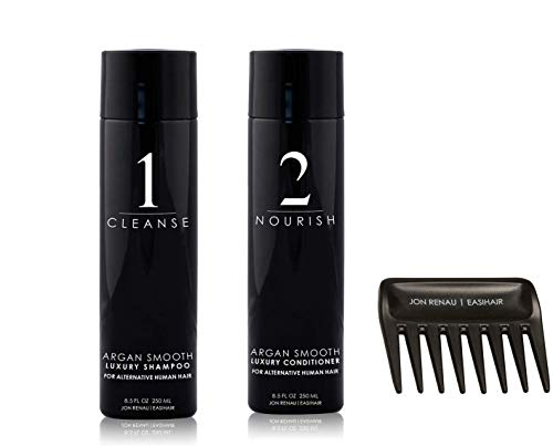 Jon Renau Human Hair Care (Argan Smooth Shampoo and Conditioner- 8oz Bottles)