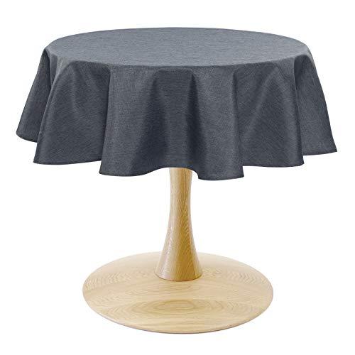 WOLTU TD3051gr Tischdecke Tischtuch Leinendecke Leinen Optik Lotuseffekt Fleckschutz pflegeleicht abwaschbar schmutzabweisend Farbe & Größe wählbar Rund 140 cm Grau