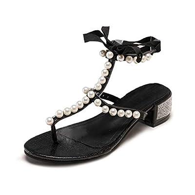 RAINED-Women's Sandals Pearl Clip Toe Sandals Lace-Up High Heels Beach Shoes T-Strap Thong Sandals Summer Flip Flops