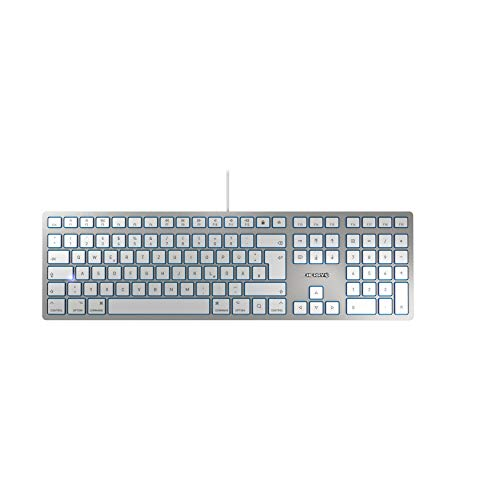 CHERRY KC 6000 Slim for MAC- USB Keyboard - Ultraflaches Design - Kabelgebunden - Deutsches Layout - QWERTZ Tastatur - Silber