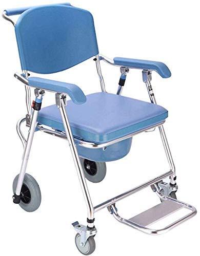 YUQIYU Ruedas de asiento de inodoro WC ancianos silla de ruedas for minusválidos móvil de asiento de inodoro WC plegable de la mujer embarazada silla de baño