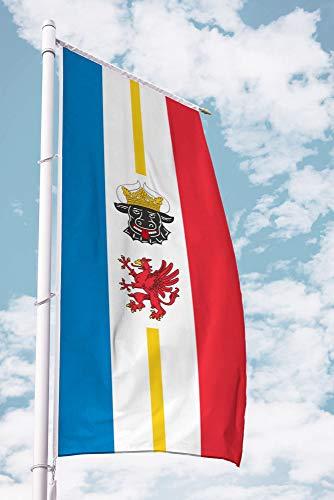 Deitert Bundesland-Flagge Mecklenburg-Vorpommern – 120x300 cm Mecklenburg-Vorpommern Flagge mit Wappen, Fahne für Ausleger aus reißfestem Polyester