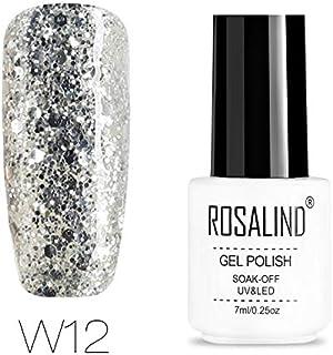 ROSALIND-Esmalte semipermanente de uñas de gel con purpurina de diamante pintura de color súper brillante para lámpara U...