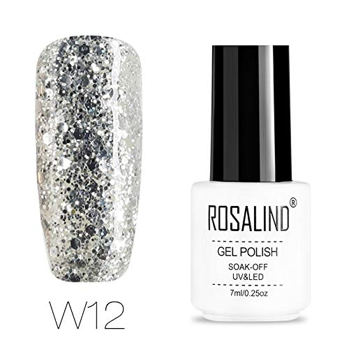 ROSALIND-Esmalte semipermanente de uñas de gel con purpurina de diamante, pintura de color súper brillante, para lámpara UV y LED