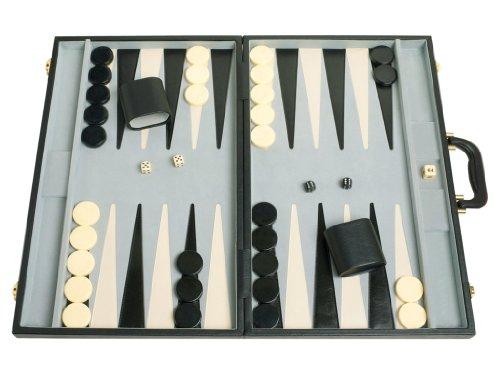 """Classic 21"""" Tournament Backgammon Set - Black Board"""
