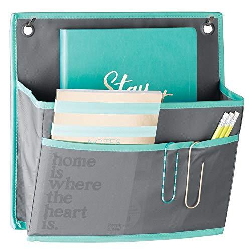 mDesign Organizador Colgante para Puerta – Práctico Sistema de almacenaje en Tela – Colgador de Puerta con Gran Bolsillo – Organizador de Escritorio y Oficina – Gris/Azul Verdoso