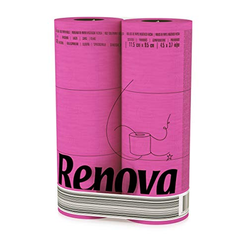 Renova Toilettenpapier, Pinkfarben, Standardpackung mit 6 Rollen