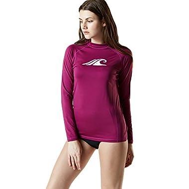 Tesla TM-FSR24-PLM_Medium Women's UPF 50+ Regular-Fit Long Sleeve Athletic Rashguard FSR24