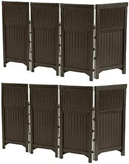 Suncast 2 Pack FSW4423 Decorative Outdoor Yard Resin Wicker Screen Enclosures