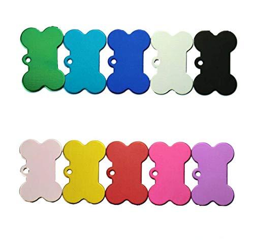 Etiqueta para perro con forma de hueso,10 Piezas Placas de identificación Perro Etiquetas del Mascotas Forma de Huesoidentificación Perro Etiquetas del Mascotas(38 mm)
